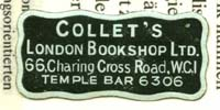 Collet's London Bookshop Ltd 66 Charing Cross Rd WC1 Temple Bar 6306
