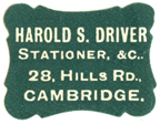 Harold S Driver, Stationer etc, 28 Hills Rd Cambridge