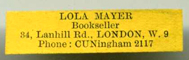 Lola Meyer Bookseller Lanhill Rd London CUNingham 2117