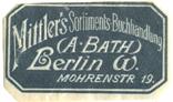 Mittler's Sortiments Buchhandlung (A Bath) Berlin, Mohrenstr 19