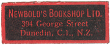 Newbold's Bookshop Ltd, 394 George Street, Dunedin C1 NZ