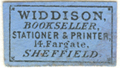 Widdison Bookseller, Stationer & Printer 14, Fargate, Sheffield
