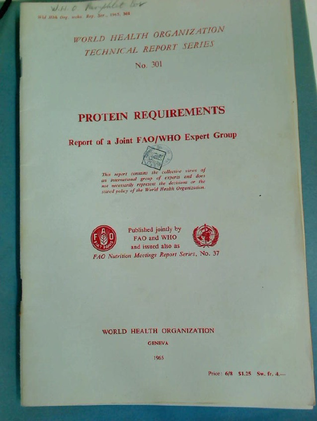 Protein Requirements. Report of a Joint FAO / WHO Expert Group.