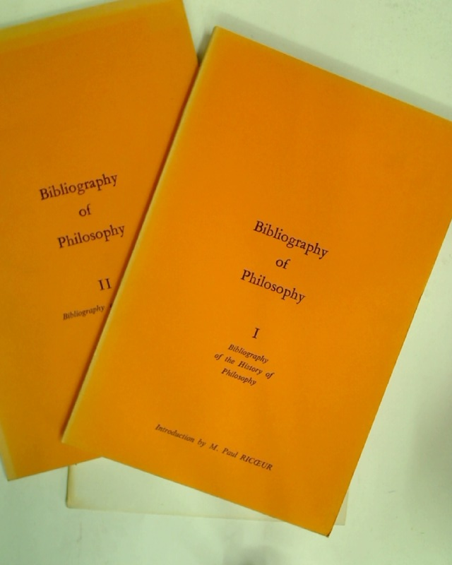 Bibliography of Philosophy. 1: History of Philosophy; 2: 1945 - 1965.