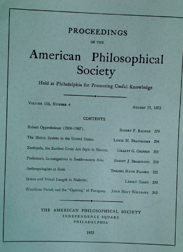 Robert Oppenheimer, 1904 - 1967. Essay in the Proceedings of the American Philosophical Society.