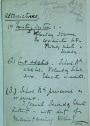 Manuscript Notes re Educational Policy by A J Balfour on House of Commons Notepaper.