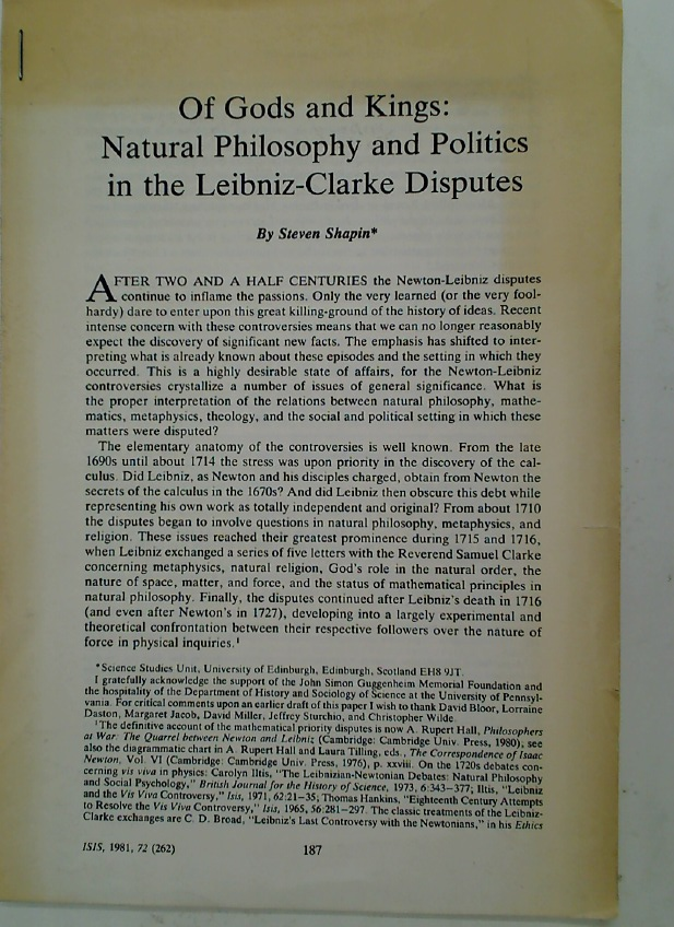 Of Gods and Kings: Natural Philosophy and Politics in the Leibniz-Clarke Disputes. (ISIS, 1981, 72 (262))