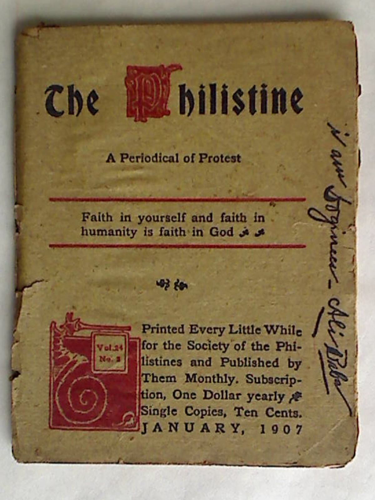 The Philistine: A Periodical of Protest. Volume 24, Number 2, January 1907.