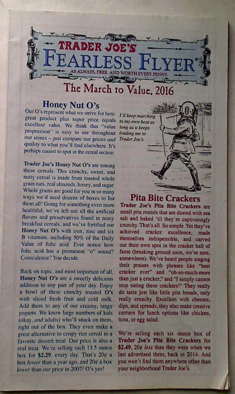 Trader Joe's Fearless Flyer. The March to Value, 2016. CA Edition.
