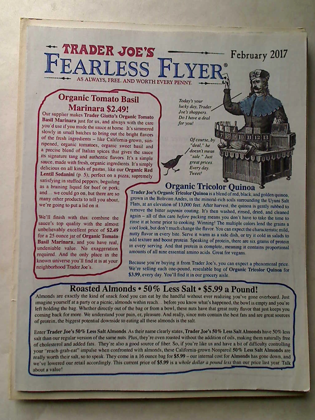 Trader Joe's Fearless Flyer. February 2017. CA/AZ Edition.