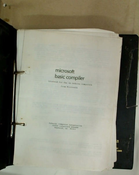 Microsoft Basic Compiler. Licensed for Use on Osbore Computers from Microsoft.