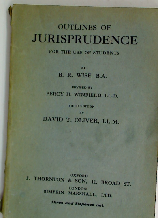 Outlines of Jurisprudence for the Use of Students. Fifth Edition.