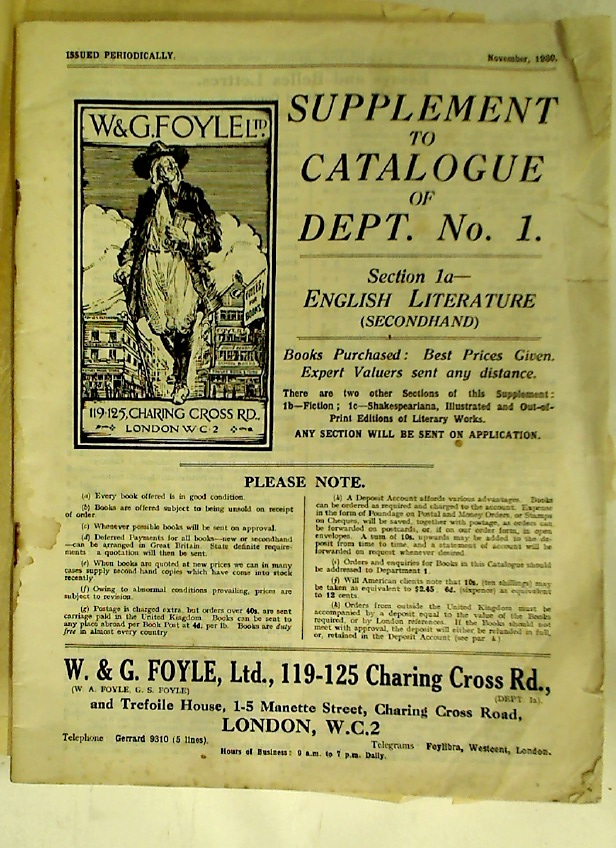 W & G Foyle Ltd. Supplement to Catalogue of Dept No 1. Section 1a: English Literature: Secondhand.