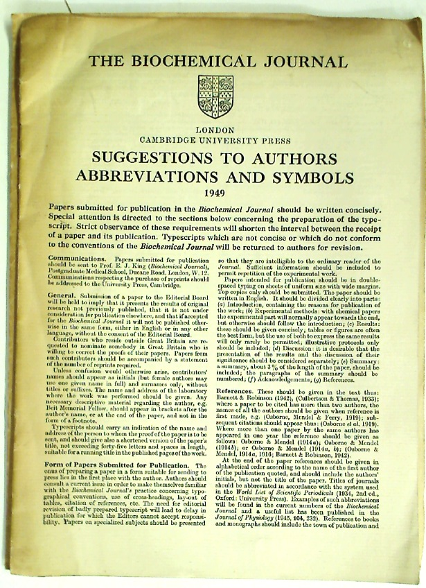 The Biochemical Journal. Suggestions to Authors. Abbreviations and Symbols. 1949.