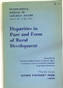 Disparities in Pace and Form of Rural Development. International Journal of Agrarian Affaira. Volume IV, Number 3. May 1964.