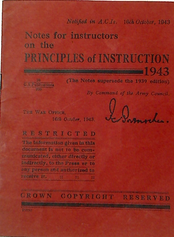Notes for Instructors on the Principles of Instruction 1943.I.