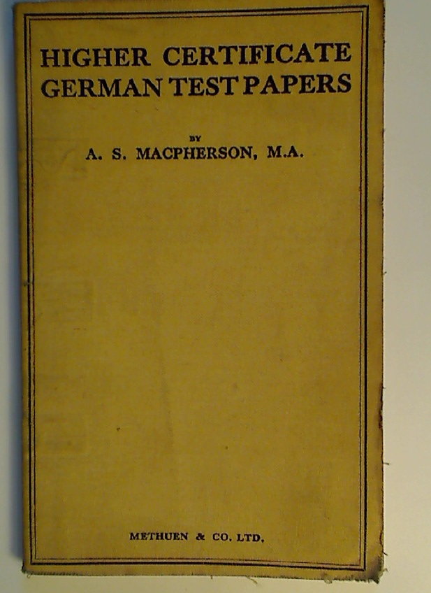 Higher Certificate German Test Papers.