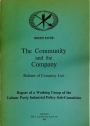 The Community and the Company. Reform of Company Law.