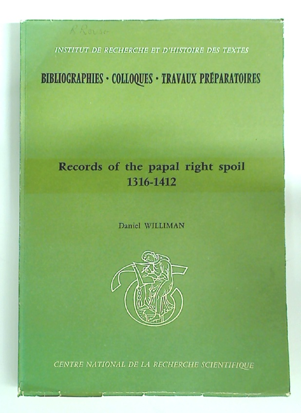 Records of the Papal Right of Spoil, 1316 - 1412.